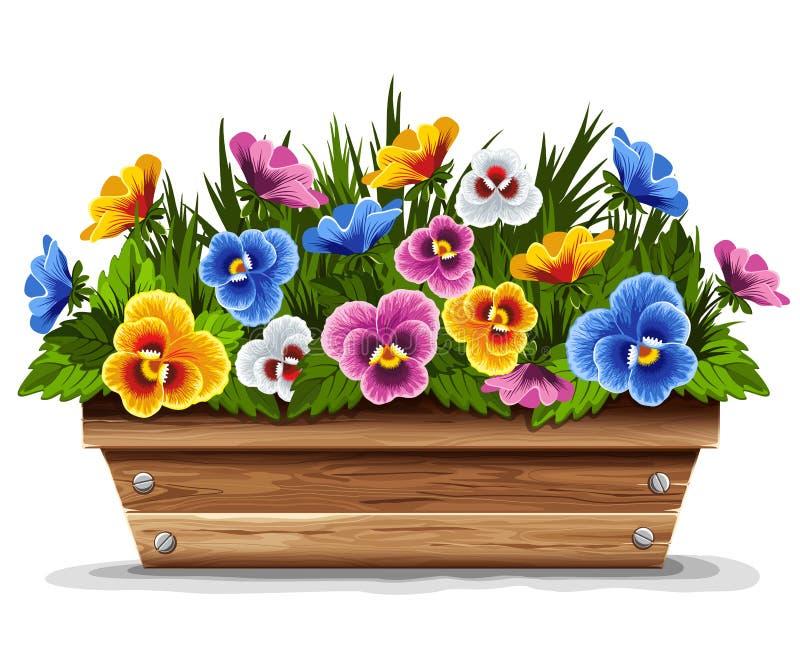 blommapansies lägger in trä royaltyfri illustrationer