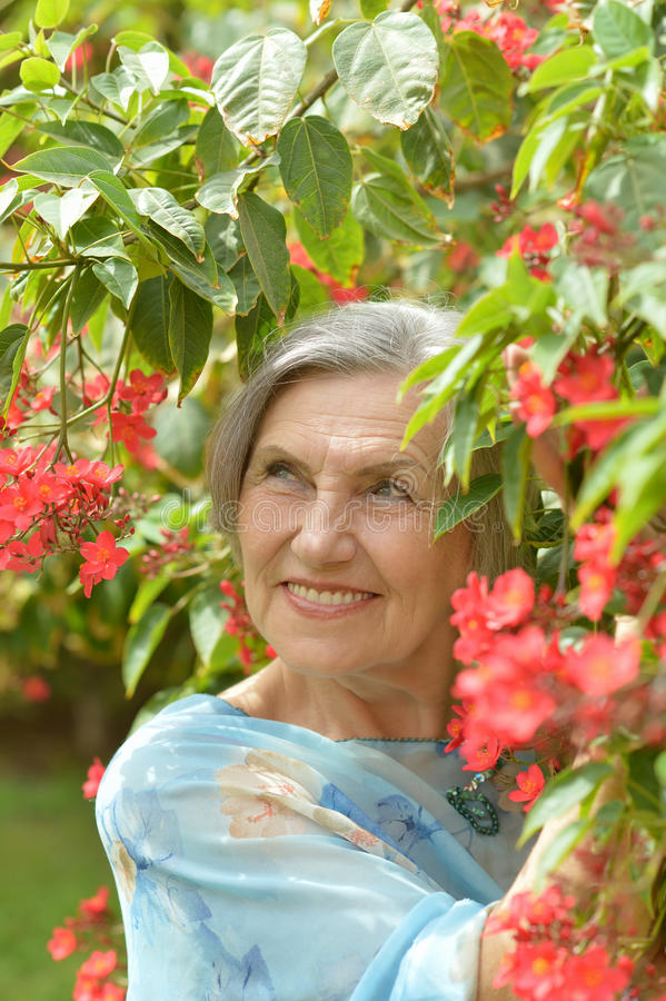 blommar äldre kvinna arkivbilder