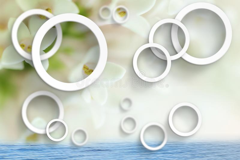 Blommar abstraktion Stereoskopisk fototapet för inre framförande 3d royaltyfri illustrationer
