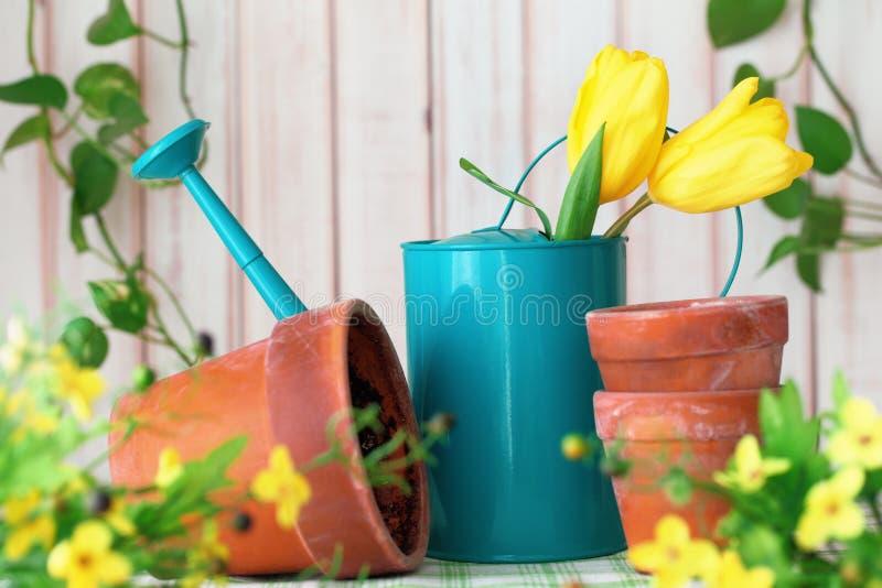 blommar arbeta i trädgården hjälpmedel arkivfoton