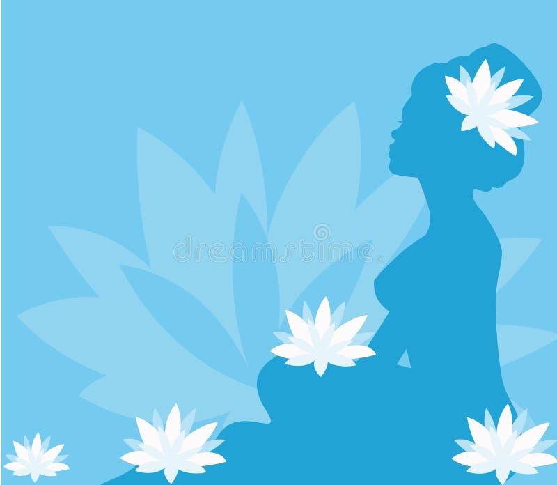 blommar barn för lotusblommabrunnsortkvinna royaltyfri illustrationer