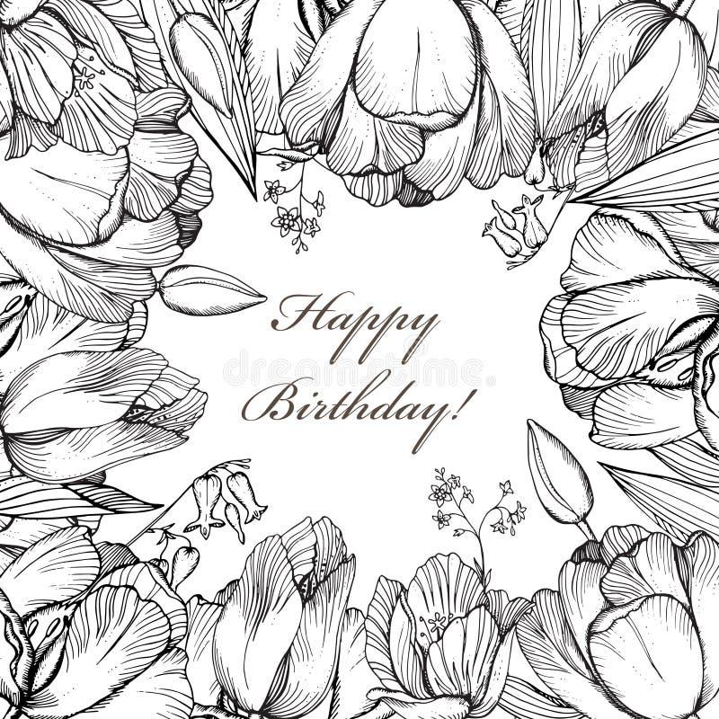 Blommar blom- bakgrund för vektorelegans med den grafiska våren royaltyfri illustrationer