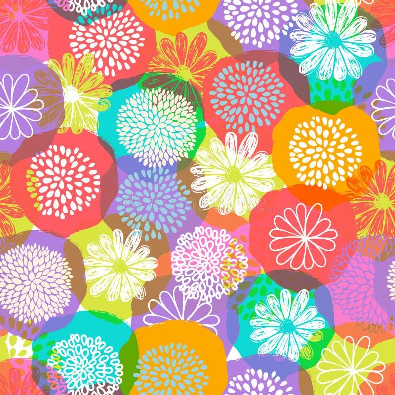 Blommar den blom- modellen för den sömlösa vektorn med stiliserat klotter på färgrik bakgrund vektor illustrationer