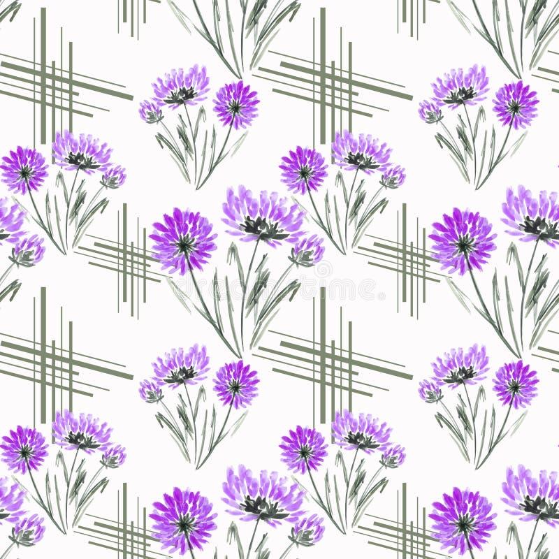 Blommar den blom- modellen för den sömlösa retro vattenfärgen, lila på vit bakgrund vektor illustrationer