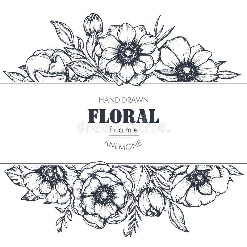 Blommar den blom- ramen för vektorn med buketter av handen drog anemonen vektor illustrationer
