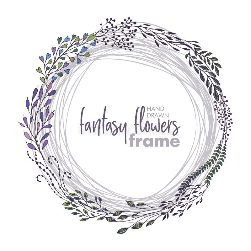 Blommar den blom- ramen för vektorn med buketter av handen drog fantasin royaltyfri illustrationer