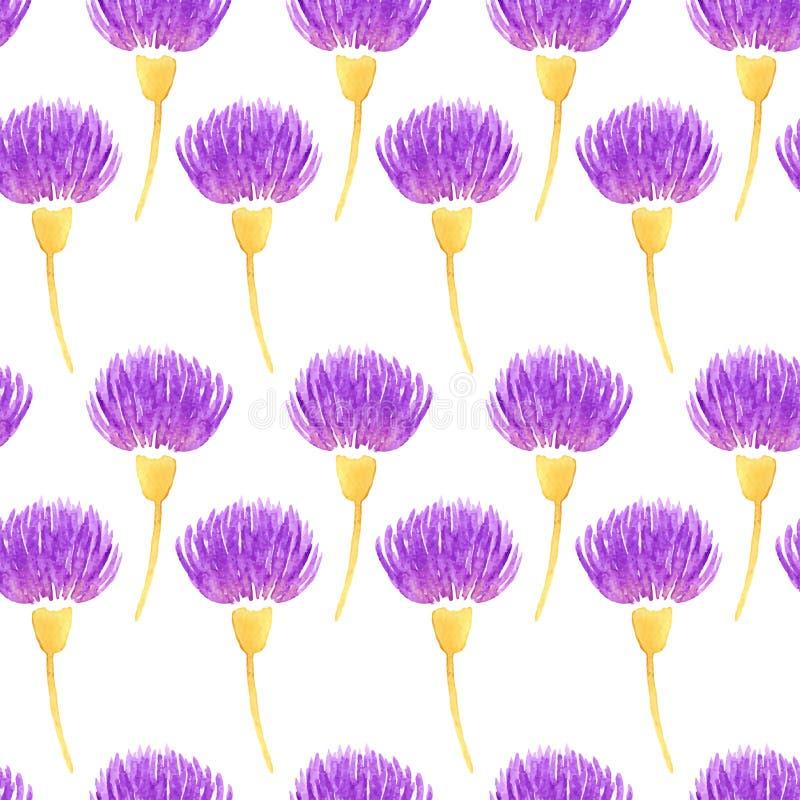 Blommar den blom- sömlösa modellen för vattenfärgvektorn med den dekorativa violetta tisteln Vår vektor illustrationer