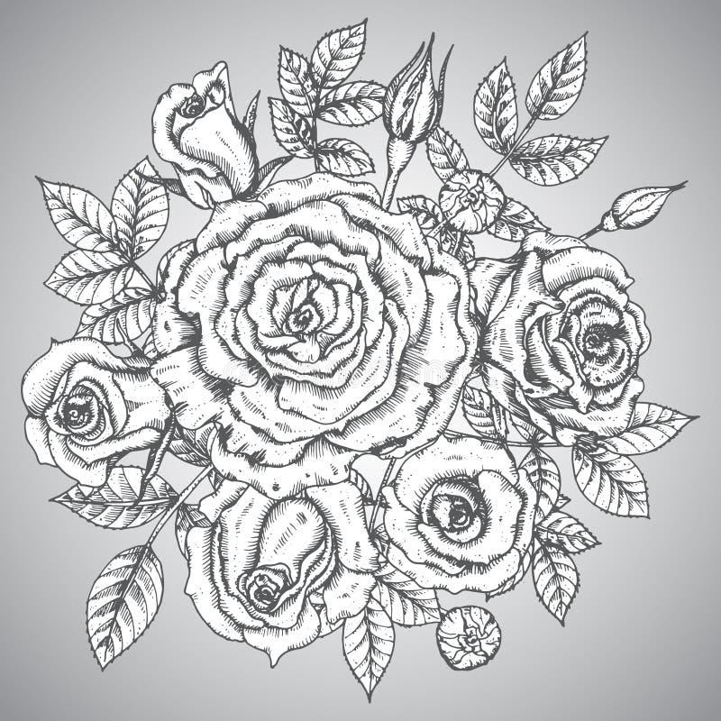 Blommar den eleganta buketten för tappning med diagrammet (rosor) stock illustrationer