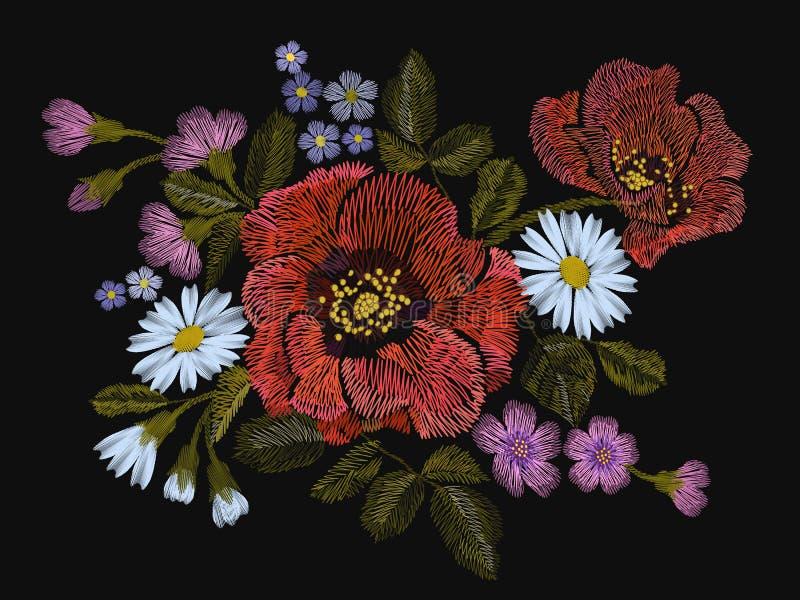 Blommar den färgrika blom- modellen för broderi med vallmo och tusenskönan För folkmode för vektor traditionell prydnad på svart  royaltyfri illustrationer