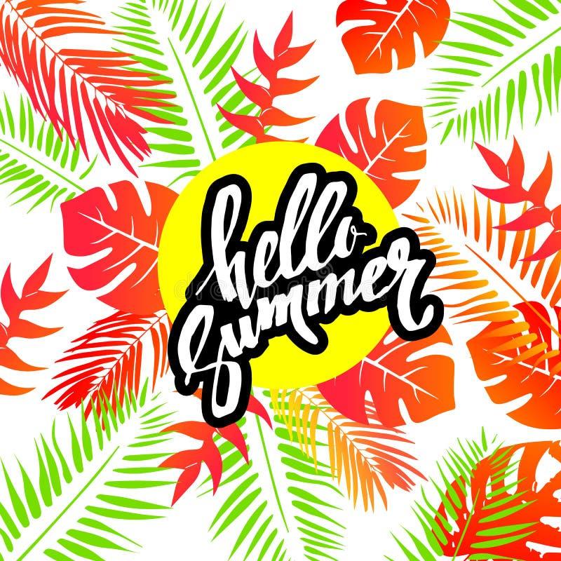 Blommar den färgrika hawaianska modellen för sommar med tropiska växter och hibiskusen illustrationen royaltyfri illustrationer