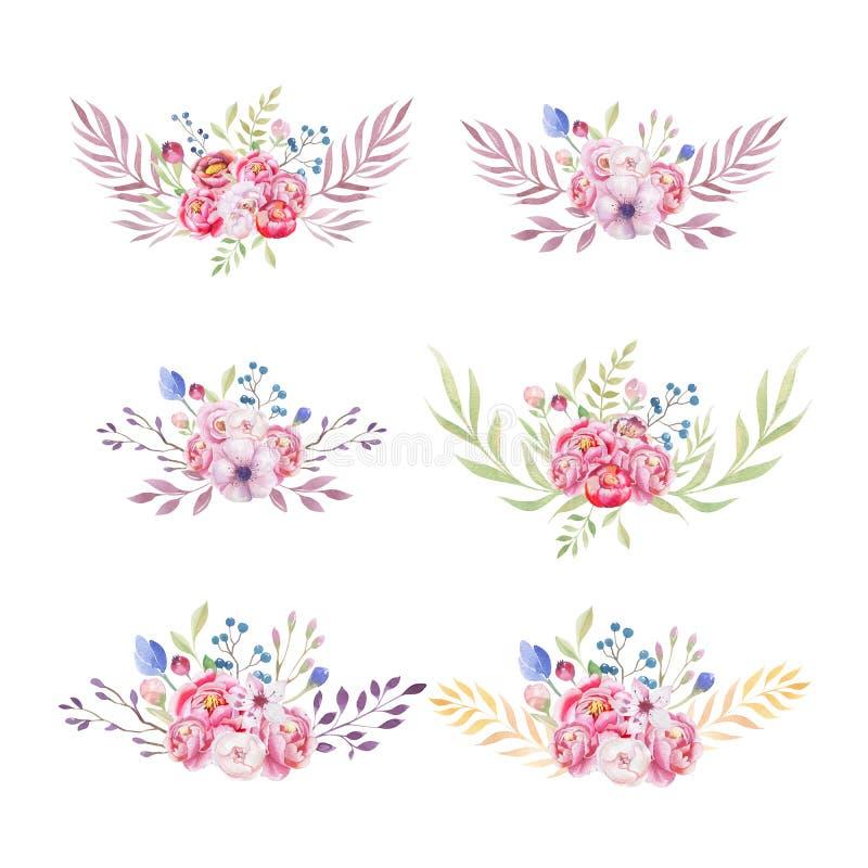 Blommar den färgrika person som tillhör en etnisk minoritetuppsättningen för vattenfärgen av buketten i infödingen Amer stock illustrationer