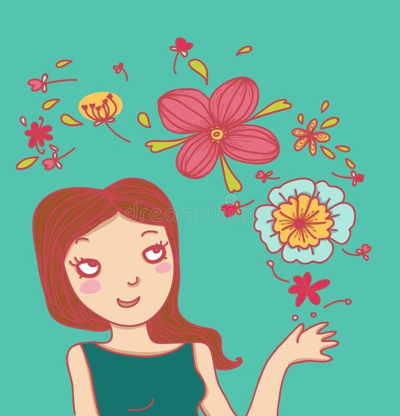 blommar den magiska le kvinnan royaltyfri illustrationer