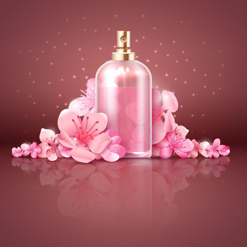 Blommar den organiska produkten för omsorghud med japansakura den körsbärsröda blomningen vektorillustrationen vektor illustrationer