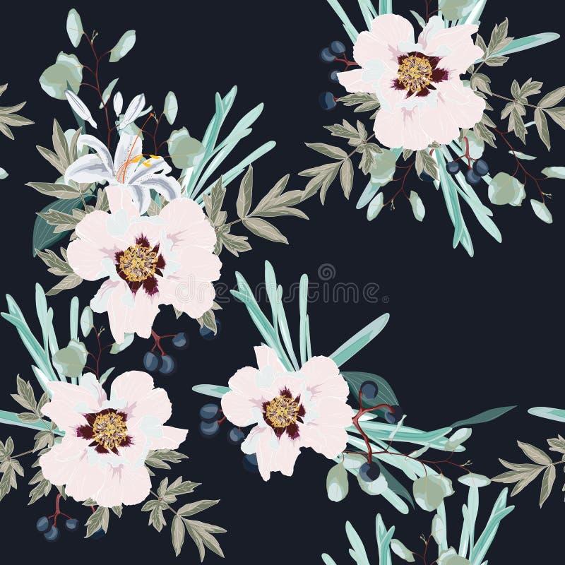 Blommar den rosa pionen för vårhösten med den sömlösa modellen för örter och för liljor Blom- bakgrund för vattenfärgstil för inb royaltyfri illustrationer