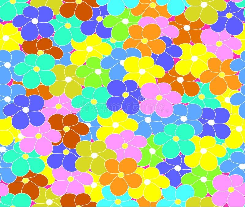 Blommar den sömlösa modellen för den blom- vektorn med den mångfärgade tusenskönan royaltyfri illustrationer