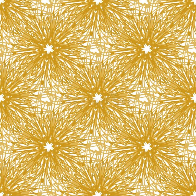 Blommar den sömlösa modellen för den guld- vektorn med det ljusa fyrverkerit Sömlös textur för rengöringsduken, tryck, tapet och  royaltyfri illustrationer