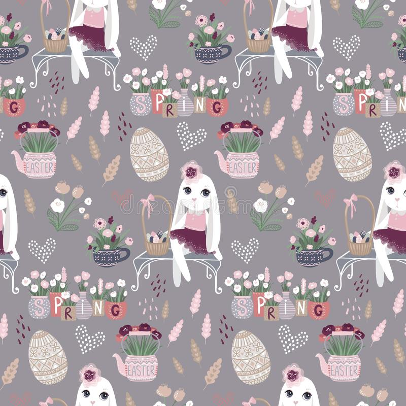 Blommar den sömlösa modellen för påsken med kaninen, ägg Vektorvår stock illustrationer