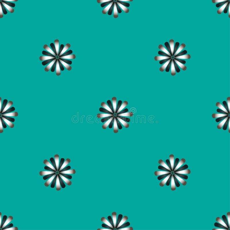 Blommar den sömlösa modellen för vektorn med lägenheten på en blå bakgrund Gulliga retro vektorillustrationer för klistermärkear, royaltyfri illustrationer