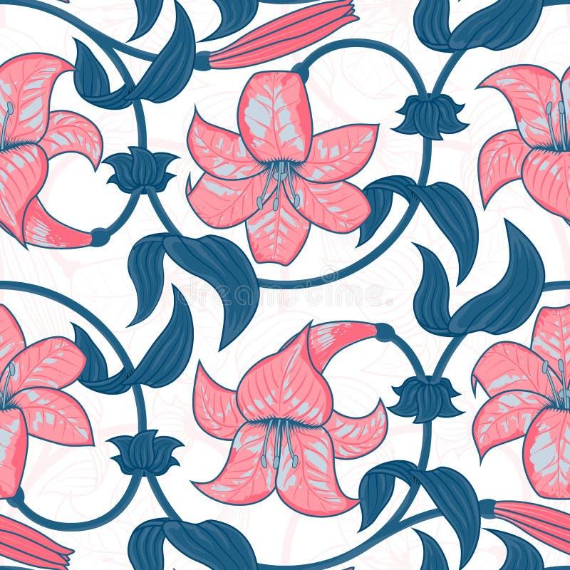 Blommar den sömlösa modellen för vektorn med liljan på vit bakgrund tropisk sommar, ljusa blått och rosa färgfärger royaltyfri illustrationer