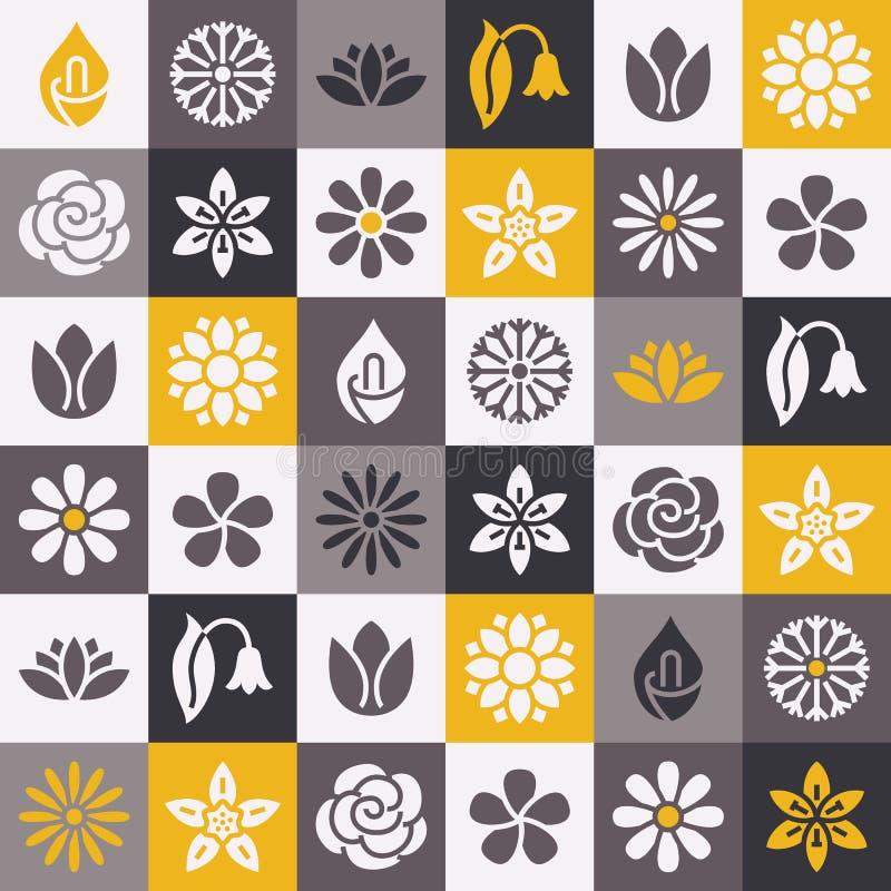 Blommar den sömlösa modellen med plana skårasymboler Kamomillen för trädgårds- växter för blom- bakgrund steg den härliga, solros stock illustrationer