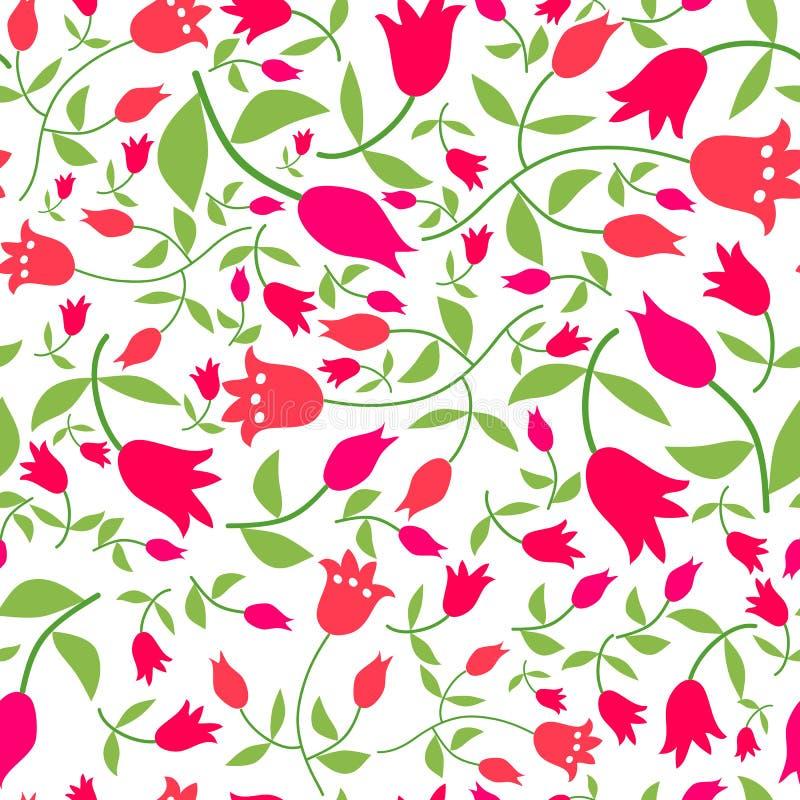Blommar den sömlösa modellen med röda tulpan vektor illustrationer