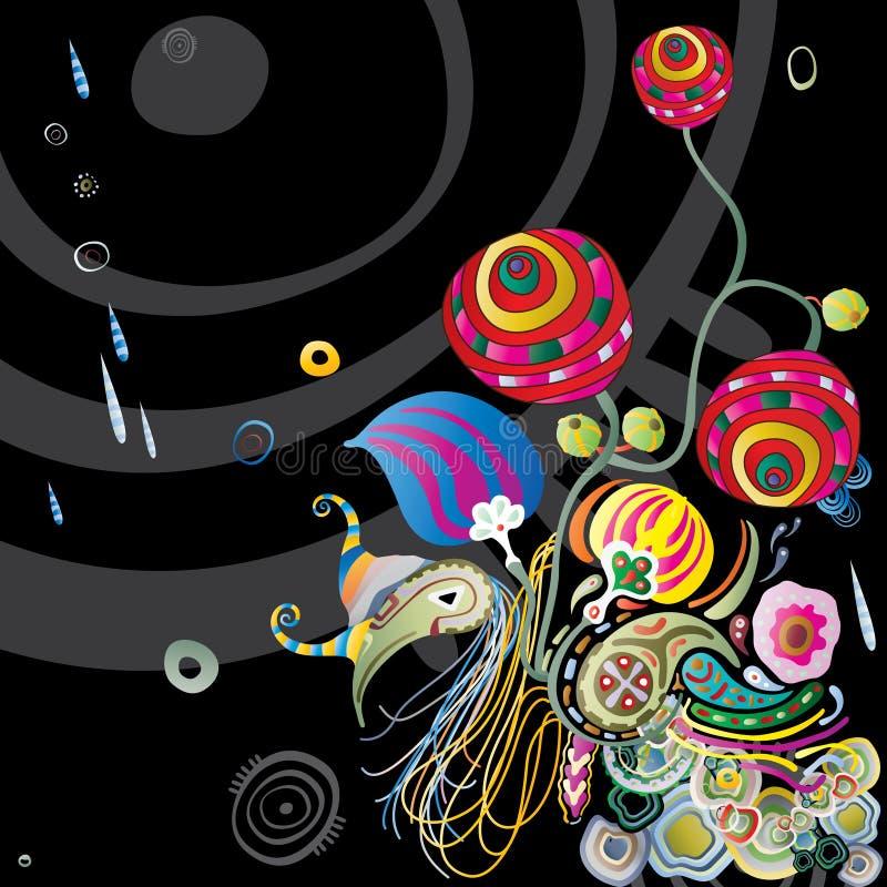 blommar den tropiska natten vektor illustrationer
