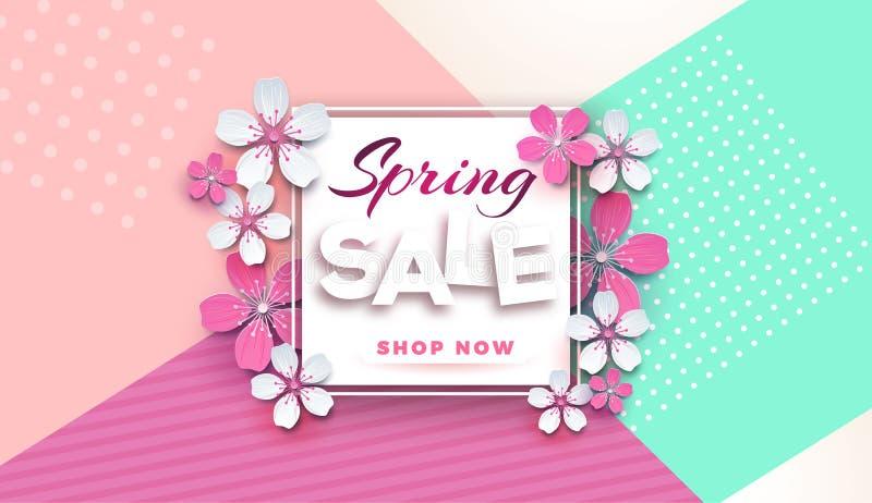 Blommar det blom- banret för vårförsäljningen med klippt papper blomstra den rosa körsbäret på en stilfull geometrisk bakgrund fö stock illustrationer