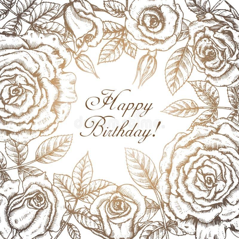 Blommar det eleganta hälsningkortet för tappning med diagrammet (rosor) royaltyfri illustrationer