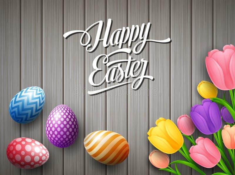 Blommar det färgrika ägget för den lyckliga påsken med tulpan beautifully ovanför trägrå bakgrund stock illustrationer