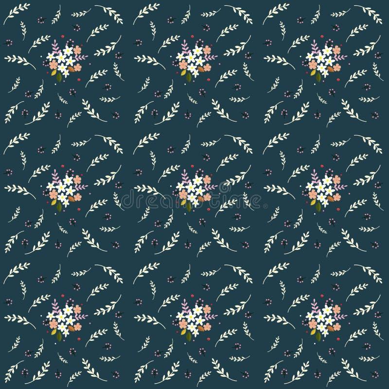 Blommar det lilla fältet för sömlös blom- modellsammansättning risbärsidor på marinbakgrund, tyg, gobelängen, tapet royaltyfri illustrationer