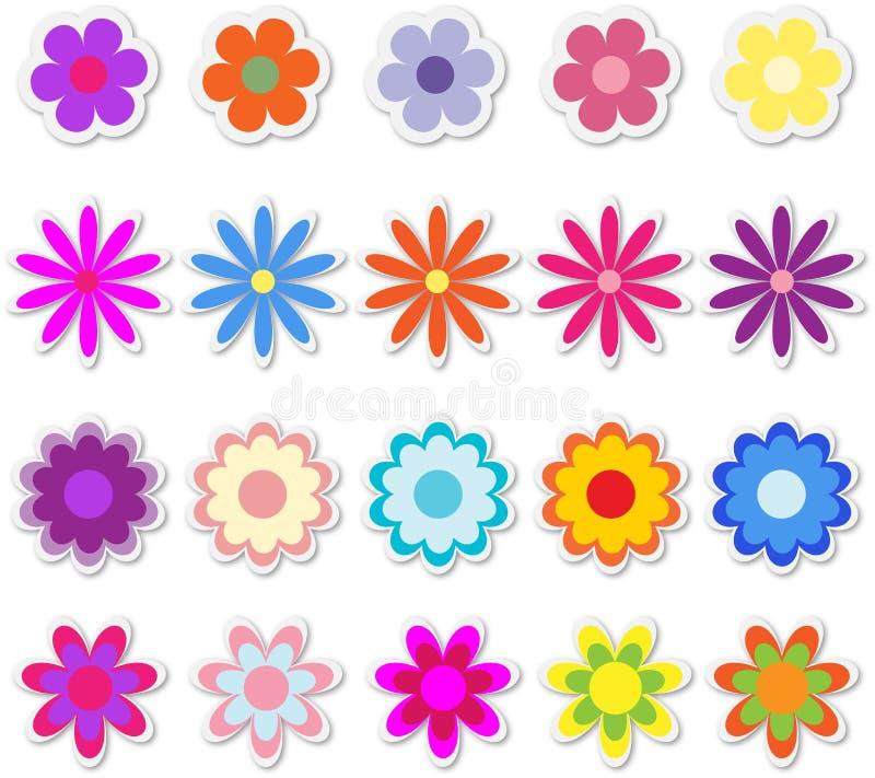 blommar etiketter royaltyfri illustrationer