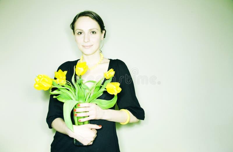 blommar flickan fotografering för bildbyråer