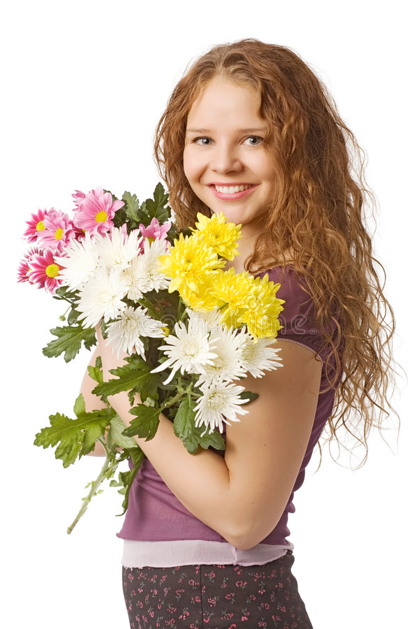 blommar flickan royaltyfria bilder