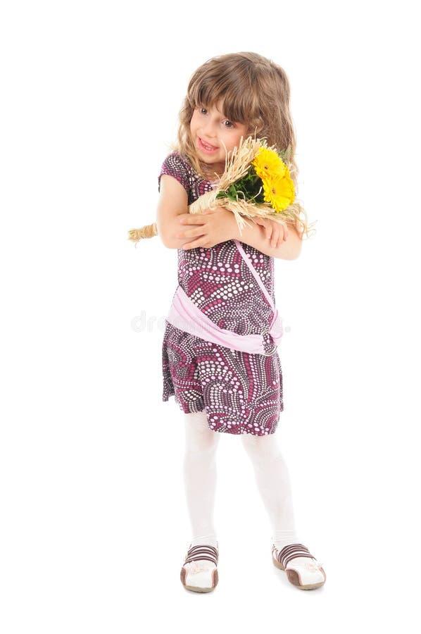 blommar flickan little royaltyfri foto