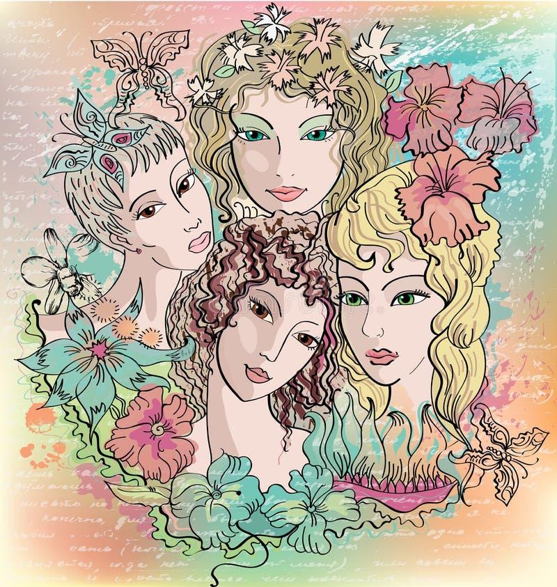 blommar flickor royaltyfri illustrationer