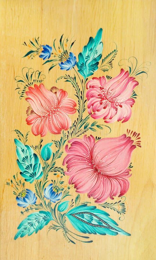 blommar folk lorestil stock illustrationer