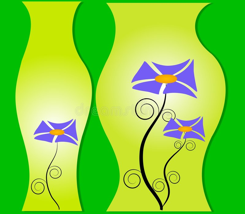 blommar glass inblickvases stock illustrationer