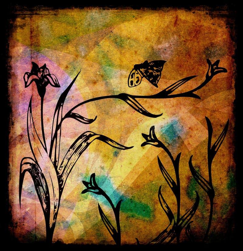 blommar grungeillustrationen stock illustrationer