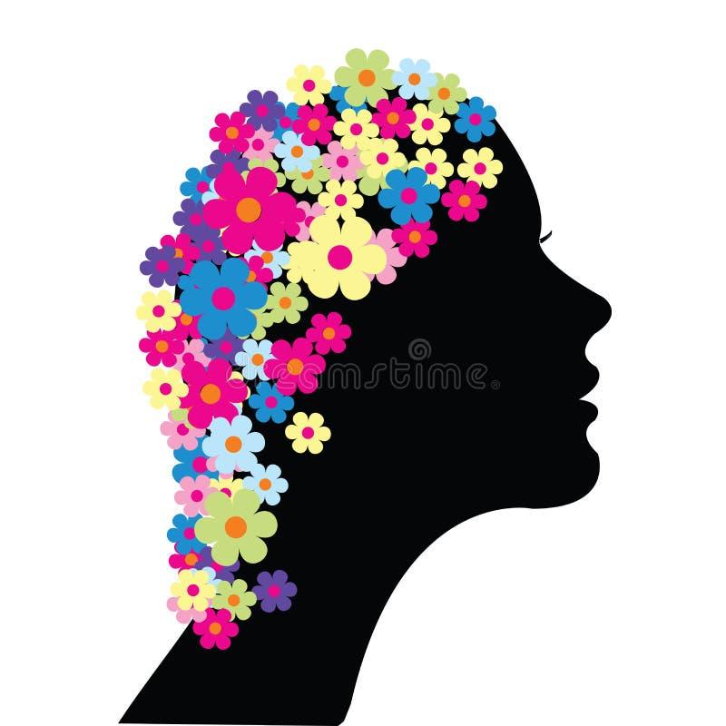 blommar hårkvinnan vektor illustrationer