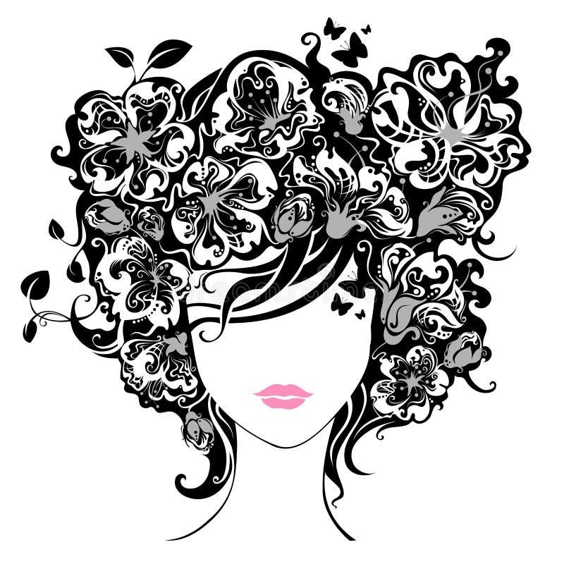 blommar hårkvinnan royaltyfri illustrationer