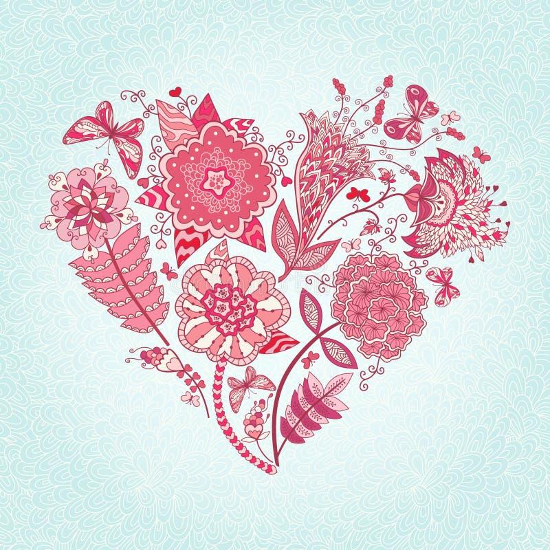 blommar hjärta vektor illustrationer