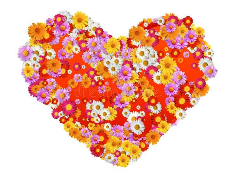 blommar hjärtaform stock illustrationer