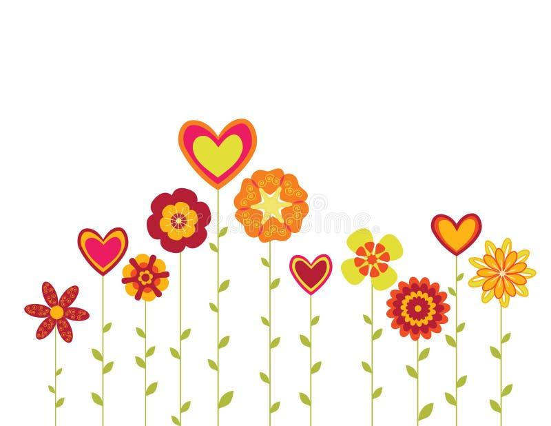 blommar hjärtor royaltyfri illustrationer