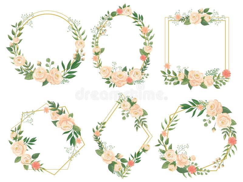 blommar illustrationen Blommagränsramar, rund blom och dekorativ gifta sig blom- fyrkantig uppsättning för kortvektorillustration royaltyfri illustrationer