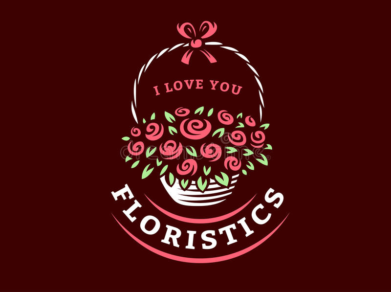 Blommar korglogoen - vektorillustrationen, emblem på mörk bakgrund royaltyfri illustrationer