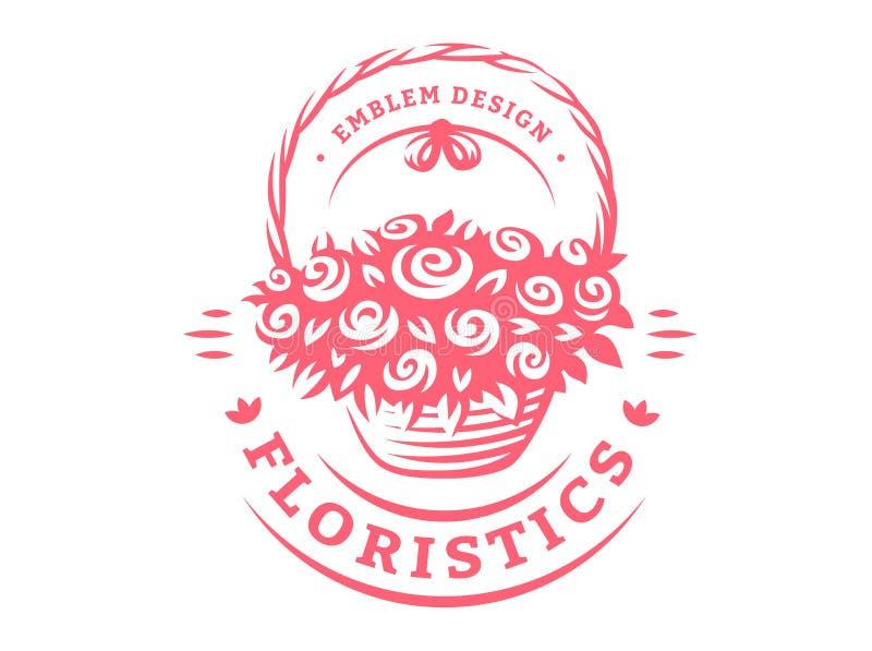 Blommar korglogoen - vektorillustrationen, emblem på vit bakgrund vektor illustrationer