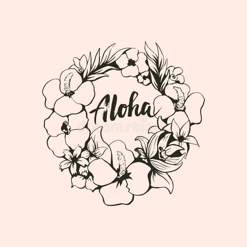 Blommar kransen med den bokstäveraloha färgpulverillustrationen stock illustrationer