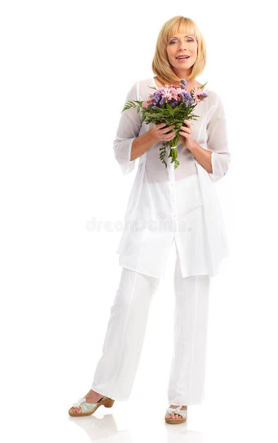 blommar kvinnan royaltyfria bilder