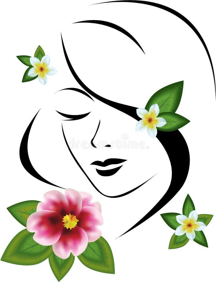 blommar kvinnan vektor illustrationer