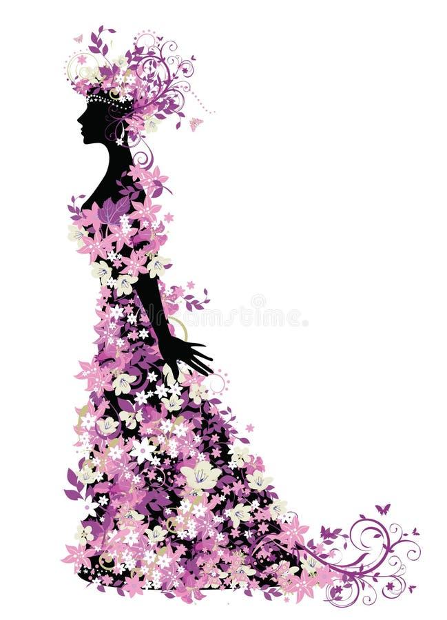 blommar kvinnan royaltyfri illustrationer